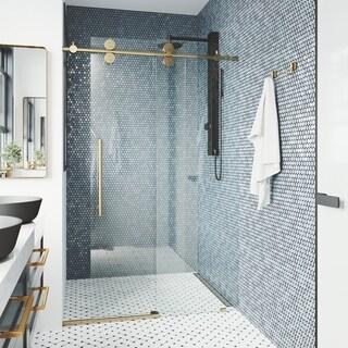 VIGO 64-68-Inch Elan Adjustable Frameless Sliding Shower Door (in Matte Brushed Gold)