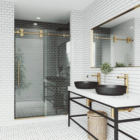 VIGO Elan Frameless Sliding Shower Door (in Matte Brushed Gold)