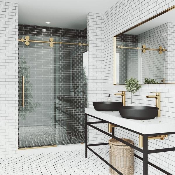 VIGO Elan Frameless Sliding Shower Door (in Matte Brushed Gold). Opens flyout.
