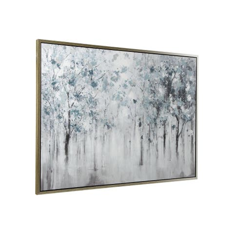 Breckin Casual Blue/Gray/White Misty Forest Trees Framed Wall Art