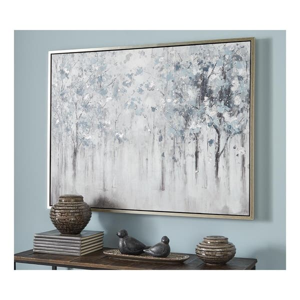 Breckin Casual Blue Gray White Misty Forest Trees Framed Wall Art Overstock 30237408