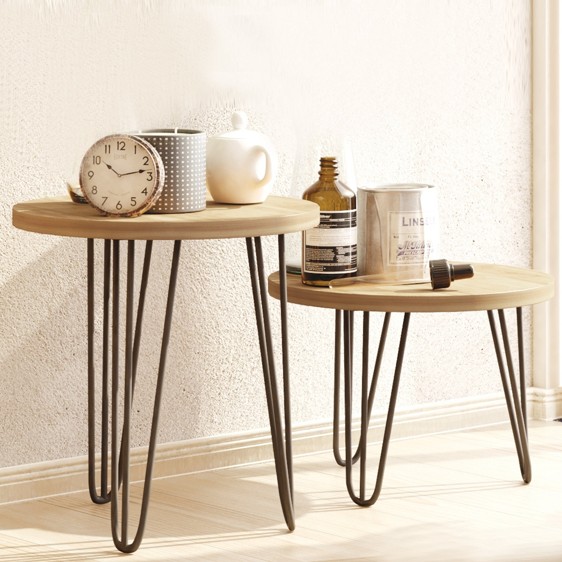 Roni Walnut Black 18 Inch Round Wood And Iron Side Table