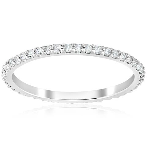 1/2 Ct Diamond Eternity Wedding Stackable Ring 14K White Gold