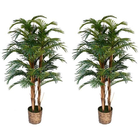 """(Set of x2) 60"""" Tall Faux Palm Trees in Bamboo Wicker Planter"""