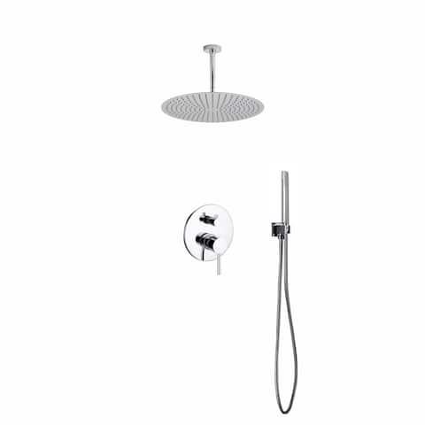 "Aqua Rondo Shower Set w/ Ceiling Mount 20"" Rain Shower and Handheld"