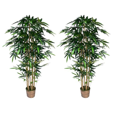 "(Set of x2) 72"" Tall Faux Bamboo Trees in Bamboo Wicker Planter"