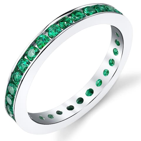 1.50 ct Simulated Emerald Eternity Ring in Sterling Silver