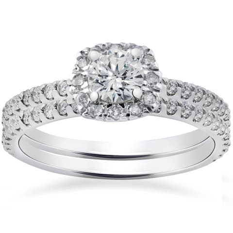 1ct Cushion Halo Lab Created Diamond Engagement Wedding Ring Set 14K White Gold