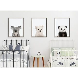 Kate and Laurel Sylvie Three Bears Framed Canvas By Amy Peterson - Gray