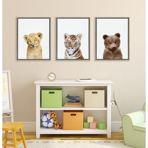Kate and Laurel Sylvie Lions and Tigers and Bears Framed Canvas by Amy Peterson - Gray