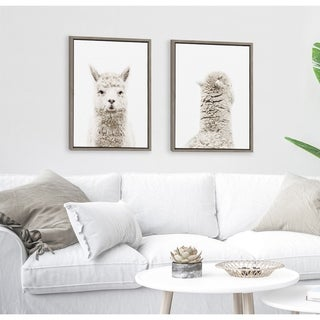 Link to Kate and Laurel Sylvie Alpaca Front And Back Framed Canvas By Amy Peterson - Gray Similar Items in Matching Sets