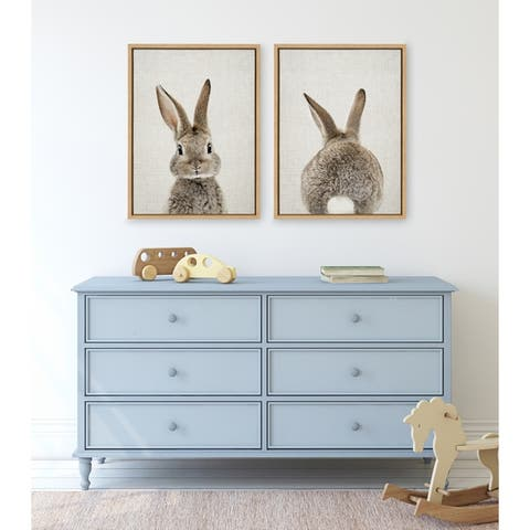 Kate and Laurel Sylvie Bunny Portrait And Tail Framed Canvas By Amy Peterson - Natural