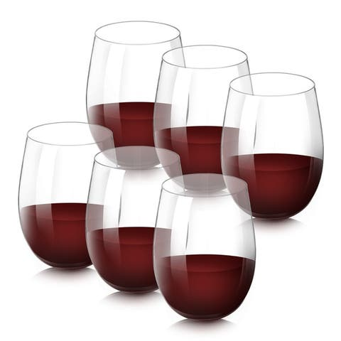 SleekDine Unbreakable Stemless Wine Glasses - Shatterproof Acrylic Wine Glasses