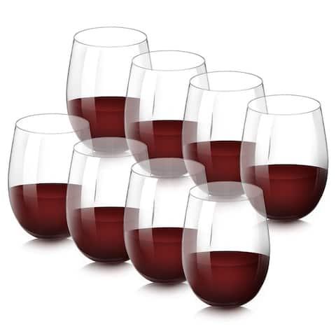 SleekDine Unbreakable Stemless Wine Glasses - Shatterproof Acrylic Wine Glasses