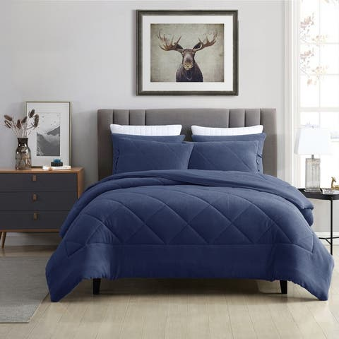Prewashed Ultra-Soft Plush Coral Fleece Reversible Comforter Set