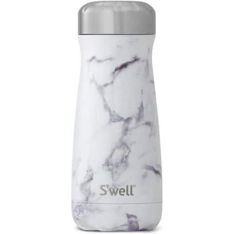S'well 10316-B17-00910 Stainless Steel Travel Mug, 16oz, White Marble