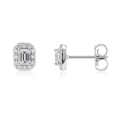 Annello by Kobelli 14k White Gold 1/2ct TDW Diamond Halo Rectangle Stud Earrings