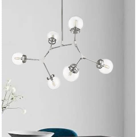 Modern Bubble Geometric Six Light Chandelier in Satin Nickel