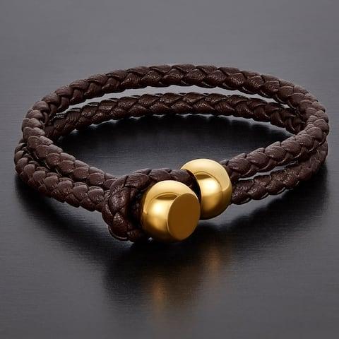 Braided Leather Toggle Bracelet