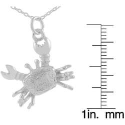Journee Collection  Sterling Silver Movable Crab Pendant - Thumbnail 2