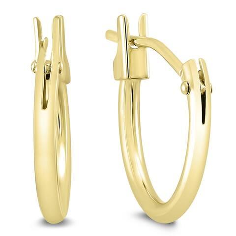 12MM Huggie Hoop Earrings in 14K Yellow Gold