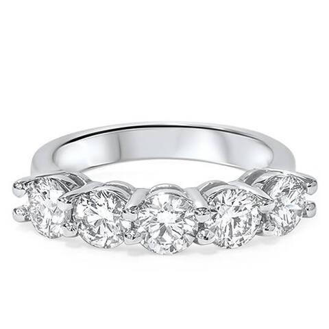 Pompeii3 14k White Gold 2ct TDW Lab Grown Diamond 5-stone Wedding Ring