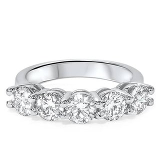 Link to Pompeii3 14k White Gold 2 Ct TDW Diamond Five Stone Wedding Ring Lab Grown (G-H/VS1-VS2) Similar Items in Wedding Rings