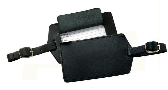 Royce Black Unisex Ultra-bonded Leather Luggage Tags (Set of Two)