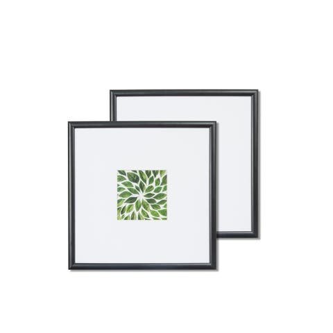 """VISTA Kayan Set of two (2) 11""""x 11"""" frames in BLACK, Wide Mats w 4""""x 4"""" Openings"""