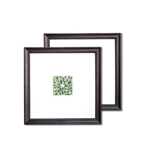 "VISTA Dominica Set of two 14""x 14"" Picture Frames, Classic Bevel in EBONY, Wide Mat w 4""x 4"" Openings"