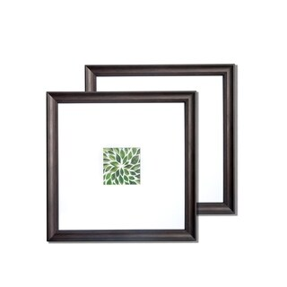 """VISTA Dominica Set of two 14""""x 14"""" Picture Frames, Classic Bevel in EBONY, Wide Mat w 4""""x 4"""" Openings"""