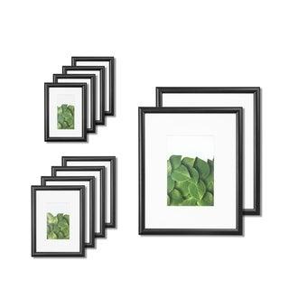 VISTA Kayan Gallery 10pc Frame Set in BLACK, (2) 8x10, (4) 5x7,(4) 4x6, Wide Mats