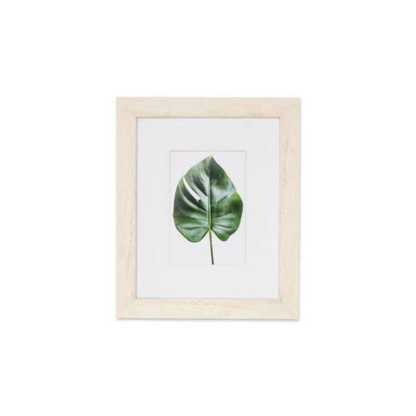 """VISTA Monteverde 11""""x 14"""" Picture Frame, Light Wood Finish w Soft WHITE Outter Edge, Wide Mat w 5""""x 7"""" Opening"""