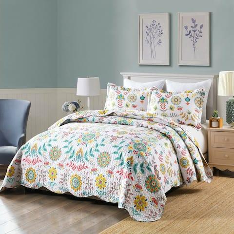 BOHO Floral Lightweight Quilt Bedspread Set