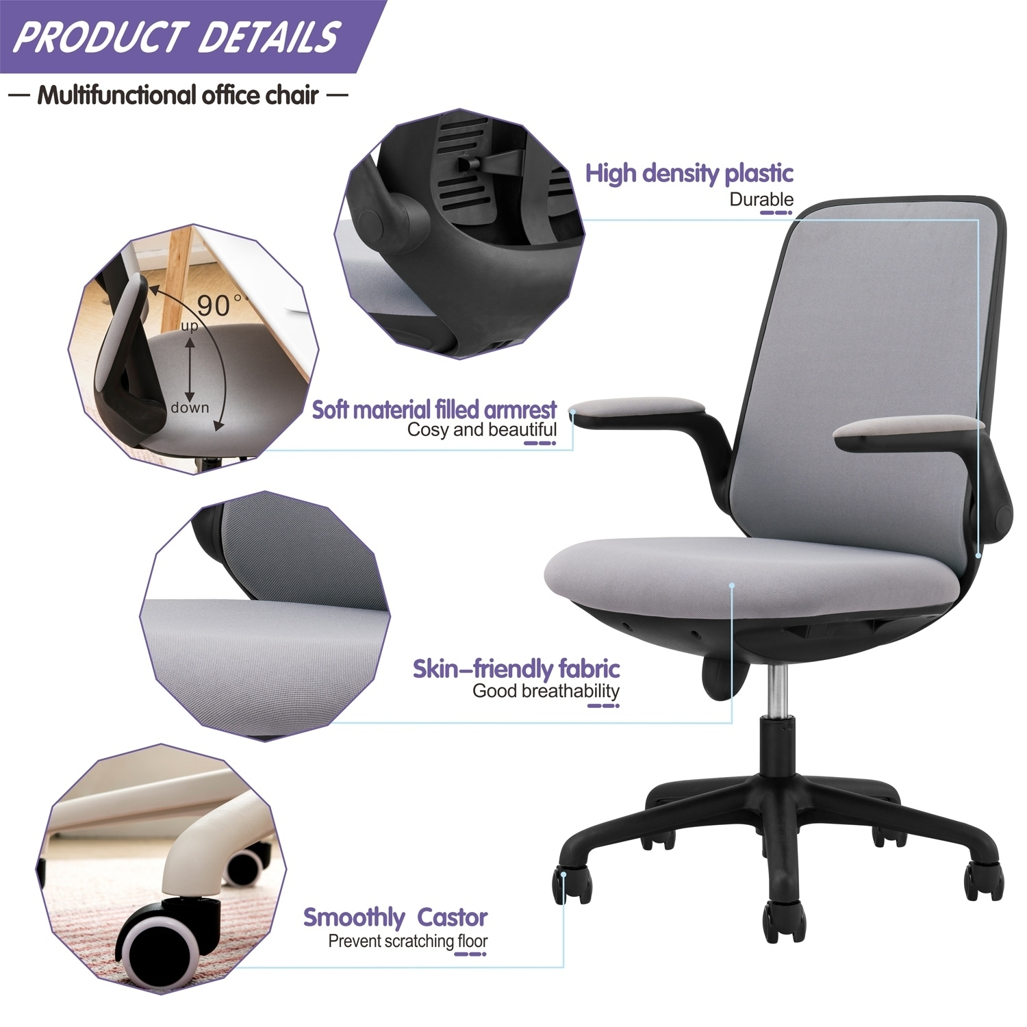 Shop Ovios Cute Desk Chair Fabric Office Chair For Home Or Office Modern Comfortble Nice Task Chair For Computer Desk Overstock 30240836