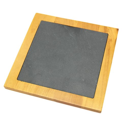 "Creative Home Pine Wood 7.5"" Square Trivet with Slate Insert"