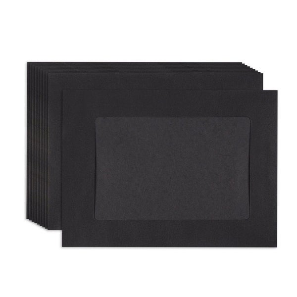 "50 Paper Picture Frames DIY Black Paper Photo Mats Frame Holder, 4"" x 6"" Inserts"