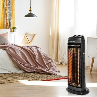 Quartz Electric Tower Heater Radiant Space Heating Black