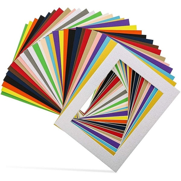 """30-Pack 6.5"""" x 8.5"""" Picture Matted Frame Boards for 5x7 Photos, Assorted Colors"""
