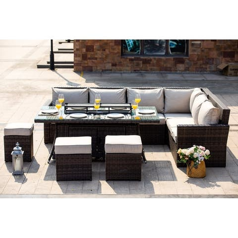 Moda 8-piece Outdoor Wicker Sofa with Fire Pit Table Patio Set