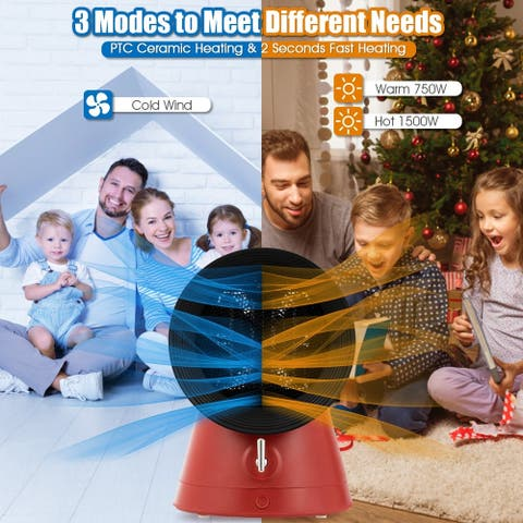 1500W Portable Electric PTC Ceramic Space Heater Desktop Heating Fan