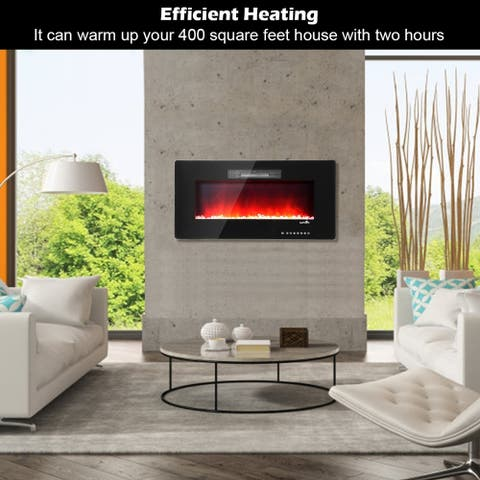 "36"" Electric Fireplace Heater Wall Mounted 750W/1500W"