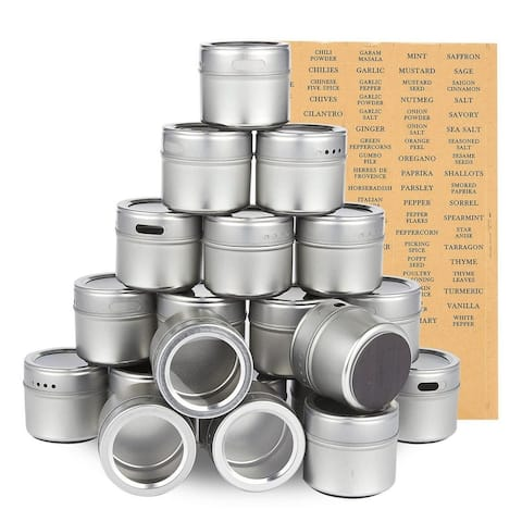 20-Pack Magnetic Spice Containers Storage Tins Organizers Holds 3.4 Oz