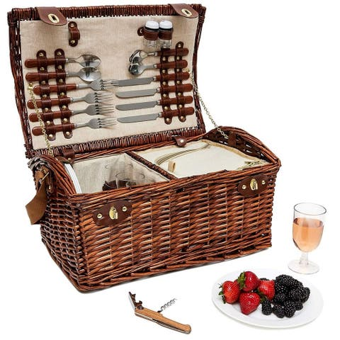 Large Wicker Picnic Basket for 4 Person Insulated Cooler Bag Supplies