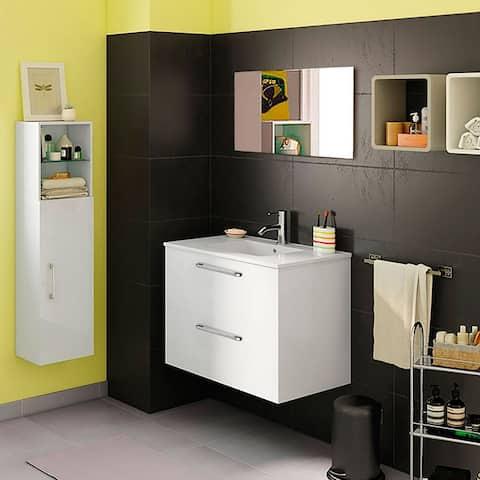 "24"" Happy Modern Bathroom Vanity / White / 24 x 24 x 18 Inch Vanity, Ceramic Top and Mirror / 2 Drawers"