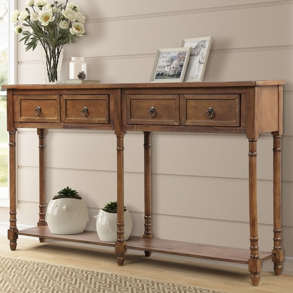 Copper Grove Braaid Console Table with Drawers/Long Shelf
