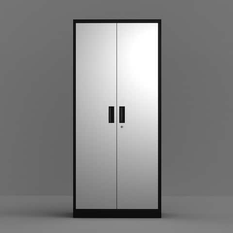 Merax Garage Storage Cabinet with 4 Adjustable Shelves and Lockable Doors