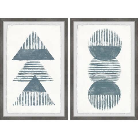 Striped Circles and Triangles Diptych