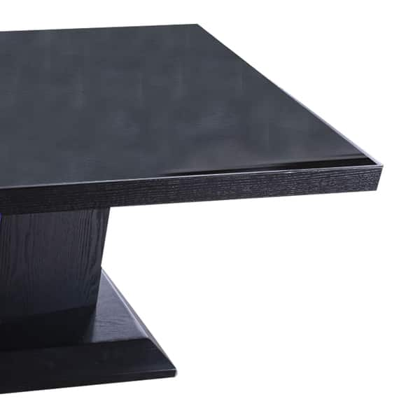 Shop Contemporary Coffee Table With Etched Glass Panel Black