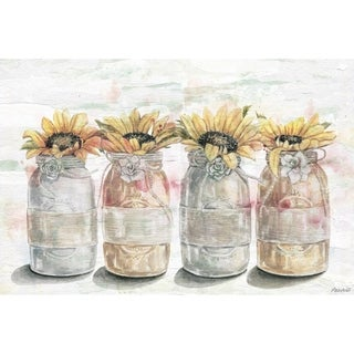 'Sunflower in Mason Jars' Painting Print on Wrapped Canvas